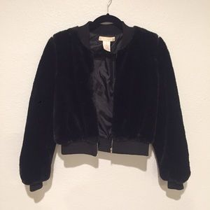 Black fuzzy bomber jacket